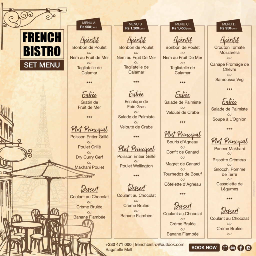 French Bistro set menu